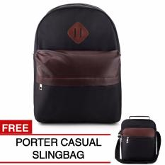 Jual Braun Fox Casual Backpack Black Free Porter Slingbag Black Cs5 Branded Original