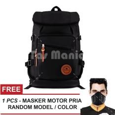 Tas Ransel Braun Fox Shimon Travel Tas Laptop Backpack Outdoor Man Canvas Large Backpacker Man - Hitam + FREE Masker Motor Pria Tas Pria Tas Sekolah Dailypack Tas Fashion Pria