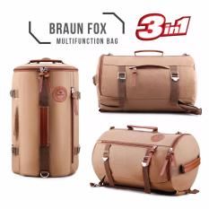 Braun Fox Tas Kanvas Tabung 3in1 Multifungsi Outdoor Man Canvas Backpacker Tas Fitness Gym Olahraga - Coklat Muda TB 31
