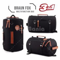 Braun Fox Tas Kanvas Tabung 3in1 Multifungsi Outdoor Man Canvas Backpacker Tas Fitness Gym Olahraga - Hitam TB 31