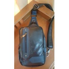 Harga Brewyn Black Label Premium Pu Leather Sling Bag Tas Selempang Pu Leather Jared Hitam Seken