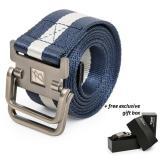 Beli Brewyn Double Metal Buckle Canvas Belt Ikat Pinggang Pria Sabuk Pria Jackson Biru Stripe Khaki Brewyn