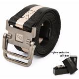 Spesifikasi Brewyn Double Metal Buckle Canvas Belt Ikat Pinggang Pria Sabuk Pria Jackson Hitam Stripe Khaki Murah Berkualitas