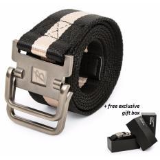 Harga Brewyn Double Metal Buckle Canvas Belt Ikat Pinggang Pria Sabuk Pria Jackson Hitam Stripe Khaki Satu Set