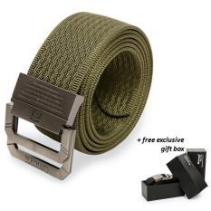 Dapatkan Segera Brewyn Double Metal Buckle Mens Canvas Military Belt Ikat Pinggang Pria Sabuk Gesper Jimbo Hijau Army