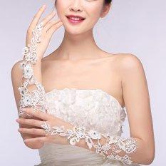 Spesifikasi Sarung Tangan Pengantin Berlian Imitasi Bunga Renda Hiasan Pesta Pernikahan Gaun Prom Sarung Terbaru