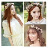 Cuci Gudang Bride Floral Wreath Bridal Wedding Hair Accessories Hat Flower Ringhandmade Garland Crown Intl