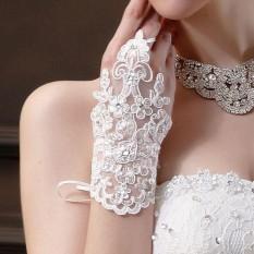 Bride Pernikahan Baju Pesta Sarung Berlian Imitasi Renda Satin Pengantin Sarung Tangan-Intl
