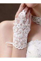 Partai Pernikahan Pengantin Gaun Pengantin Satin Jari Berlian Imitasi Renda Sarung Tangan Putih