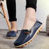 Spek Bright Women S Solid Casual Bowknot Slip On Leather Flat Sepatu Moccasin Gommino Intl