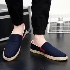 Diskon Santai Pria Inggris Linen Sepatu Sandal Sepatu Bernapas Biru Akhir Tahun