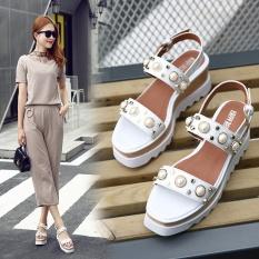 Gaya Inggris Pearl Rivet Star Meningkatkan Sepatu Tebal Bawah Pine Kue Lereng dengan Terkena Toe Bertumit Tinggi Wanita Sandal, Putih-Intl