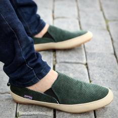 Sepatu Santai Pria Inggris Memakai Sepatu Kanvas Sepatu Sandal Zapato Bernapas Sepatu Hijau-Internasional