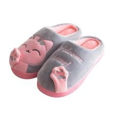 Broadfashion Lucu mewah kartun kucing rumah sandal hangat kamar tidur dalam ruangan wanita Lantai sepatu
