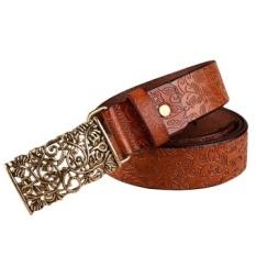 Coklat Kualitas Bagus 1 PC Fashion Wo Sabuk Kulit Vintage Beltall-Match Belt untuk Wo Sabuk Logam Vintage Ikat Pinggang Ukir- INTL
