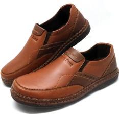 Sepatu Kulit Pria Casual Slip On Bruno Kent Aliando Tan