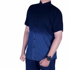 Bsg_Fashion1 Kemeja Jeans Kombinasi Lengan Pendek/Kemeja Casual/Kemeja pria/Kemeja Denim/Kemeja Polos/Kemeja Flanel/Flanel Pria/Baju Distro/Kemeja Distro/Kemeja Batik/Kemeja Songket/Kemeja Pantai/Kemeja Bunga/Baju Pria TM 4901 biru navy
