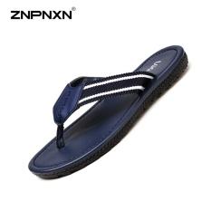 BSI Mens Sepatu Flip Jepit Sandal PU Kulit Kain Simpleleisure Gaya Mens Sepatu Kasual Chaussure Homme Ukuran 39-45Yards (Dark Biru) -Intl