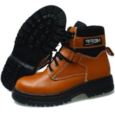BSM Soga Sepatu Safety Boots Kulit Proyek Industry Bengkel Pabrik Lapangan Kontraktor Bikers Boot Touring BSM309 - Safety Boots Best Seller - Tan