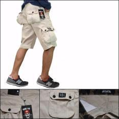 BSTR- Celana cargo pendek pria-cargo cream-Rebal one