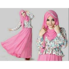 Bt Pink Liena Hijab 3in1 Atasan Spandek Printing Rok Jersey + Pasmina Fit L Berat 0.48