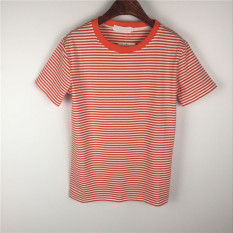 Toko Kaos Oblong Pulover Lengan Pendek Katun Garis Garis Leher O Oranye Online Terpercaya