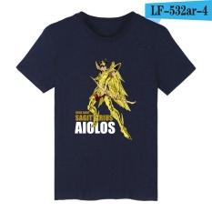 BTS Emas Saint Seiya Anime Lucu Dicetak T Shirt Pria Lengan Lengan Pendek dengan Kartun Kaos Pria 001 (NAVY Biru) -Intl