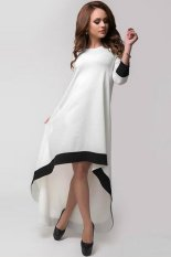 Toko Buenos Ninos Wanita Night Party The Elegan Hem Tidak Teratur Longgar Hitam Putih Gaun Perca Online