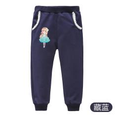 Bulan Sabit Monyet Kartun Katun Musim Semi atau Gugur Anak Perempuan Kecil Panjang Celana Modis Kasual Celana Olahraga (Angkatan laut (Musim Semi atau Gugur Celana Olahraga Celana))