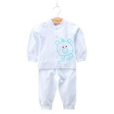 Bulan Setengah Katun Laki-laki Dan Enam Perempuan Baju Tidur Melekat Pada Badan Pakaian Dalam (Biru Babi Kecil)