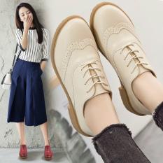 Bullock Gaya Inggris Kulit Baru Musim Gugur Tunggal Putri Sepatu Beige Sepatu Wanita Flat Shoes Oem Diskon 40
