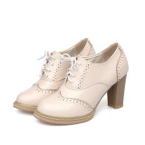 Tips Beli Bullock Inggris Musim Semi Dan Musim Gugur Baru Renda Tebal Dengan Sepatu Hak Tinggi Mulut Dalam Sepatu Warna Beras Yang Bagus