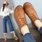 Beli Bullock Versi Korea Perempuan Musim Semi Dan Musim Gugur Putaran Sepatu Kulit Kecil Sepatu Tunggal Coklat Sepatu Wanita Flat Shoes Cicilan