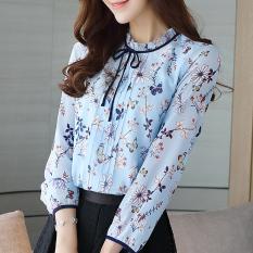 Bunga Korea Fashion Style Baru Pakaian Wanita Atasan Kemeja Sifon (Warna)