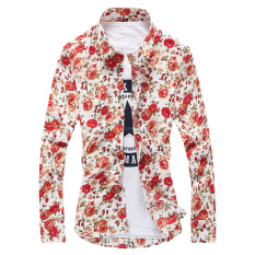Beli Bunga Korea Fashion Style Pria Lengan Panjang Musim Semi Dicetak Kemeja Kemeja Bunga Merah Bagian Tipis Murah Tiongkok