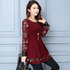 Kemeja Sifon Korea Fashion Style Baru Baju Dalaman Bermotif Bunga (Anggur merah)