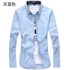 Daftar Harga Bunga Korea Fashion Style Warna Solid Slim Siswa Kemeja Pria Lengan Panjang Kemeja Langit Biru Baju Atasan Kaos Pria Kemeja Pria Oem