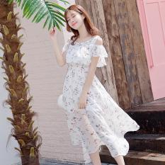 Bunga Musim Panas Pantai Sling Strapless Gaun Bohemian (Putih Bunga)