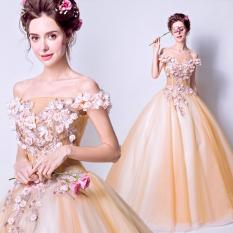 Bunga Peri Sistem Emas Bunga Gaun Pengantin Gaun (Oranye Warna Jingga) Baju Wanita Gaun Wanita Gaun Wanita