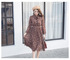 Bunga Sifon Model Musim Semi Dan Musim Gugur Baru Setengah Panjang Model Gaun Gaun (Kopi) baju wanita dress wanita Gaun wanita
