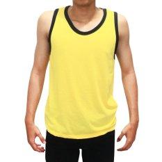 Bursa Kaos Polos Murah Kaos Singlet Variasi Gym Senam Dewasa - Kuning List Hitam