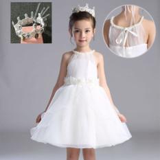 Busana Children Baju Pertunjukan Anak Kecil Pengapit Rok Terusan Rok Gaun (Putih Rok (untuk Mengirim Model model Sama Mahkota))