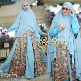 Jual Busana Muslim Be Glow Revana Biru All Size Satu Set