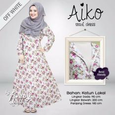 Busana Muslim Elegan Wanita Gamis Bali Katun Jepang Motif Indah AIMaxi Dress Muslimah Eksklusif Warna Offwhite Putih