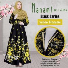Busana Muslim Elegan Wanita Gamis Rayon Bali Motif Indah NNM Maxi Dress Seri Hitam Warna Kuning