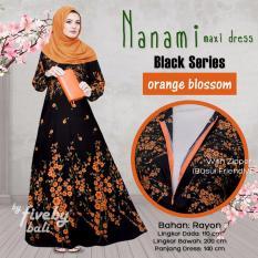 Busana Muslim Elegan Wanita Gamis Rayon Bali Motif Indah NNM Maxi Dress Seri Hitam Warna Orange