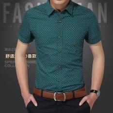 Harga Bisnis Pria Lengan Pendek Kapas Murni Shirt Slim Ventilasi Polka Dot Shirt 207D Hijau Intl Fancy Fashion Terbaik