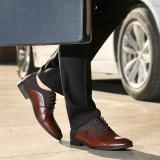 Toko Pria Bisnis Dasar Datar Kulit Lembut Pernikahan Gaun Sepatu Mewah Merek Formal Mengenakan British Fashion Brown Intl Online Terpercaya