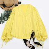 Beli Tombol Up Drawstring Sleeve Striped Blus Kuning Intl Secara Angsuran