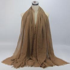BUY IN COINS Monokrom Silk Scarf Fashion Rambut Hancur Baotou Hui Muslim Islam Jilbab 35 #-Intl